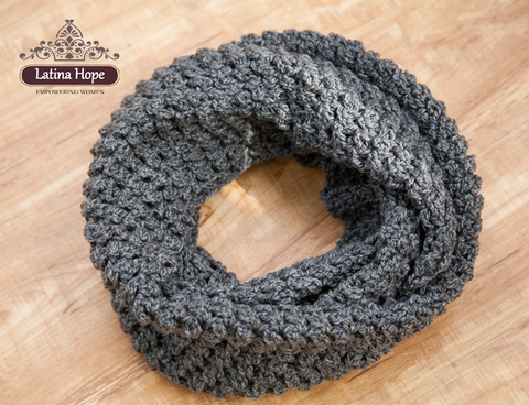 Handmade Crocheted Charcoal Gray Short Infinity Scarf - FREE SHIPPING!