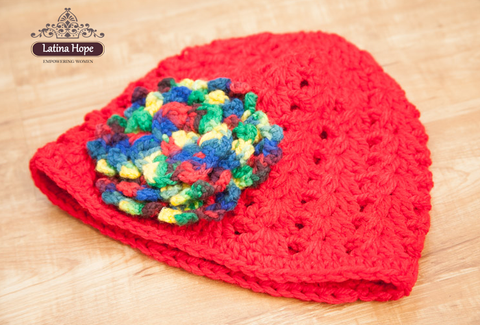 Handmade Crocheted Red Beanie / Hat With Removable Multicolored Flower - FREE SHIPPING!