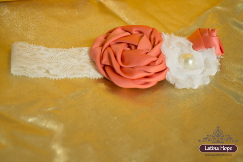 Coral and Cream Colored Baby Headband - FREE SHIPPING!