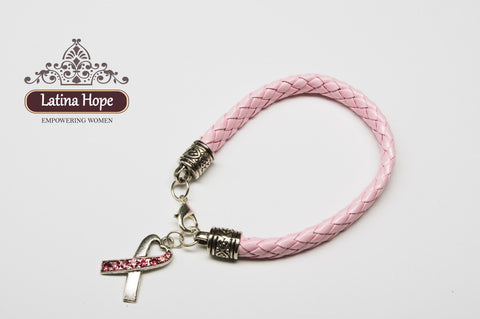 Breast Cancer Awareness Braided Band Bracelet with Rhinestone Charm - FREE SHIPPING!