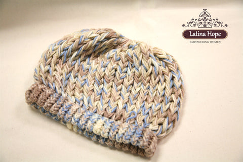 Multi color Blue, Beige & Brown Beanie  - FREE SHIPPING!