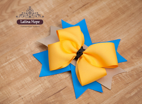 Medium Blue, Yellow, Beige Bow - FREE SHIPPING!