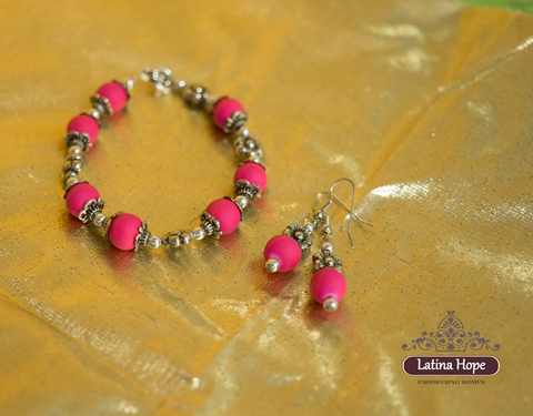 Pink Rubbery Bracelet & Earring Set - FREE SHIPPING!