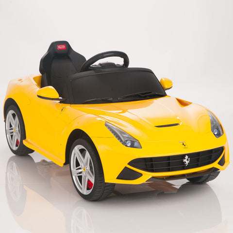 Licensed Ferrari F12 Battery Powered Ride On Car 12V Real Like Paint Yellow - GarageN1  - 1