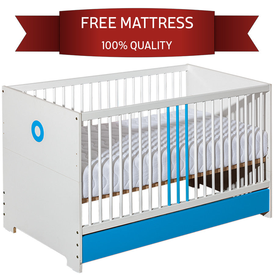 Classic Crib For Toddler Solid Wood with Blue Elements - GarageN1  - 1