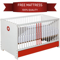 Classic Bed For Infant Solid Wood with Orange Elements