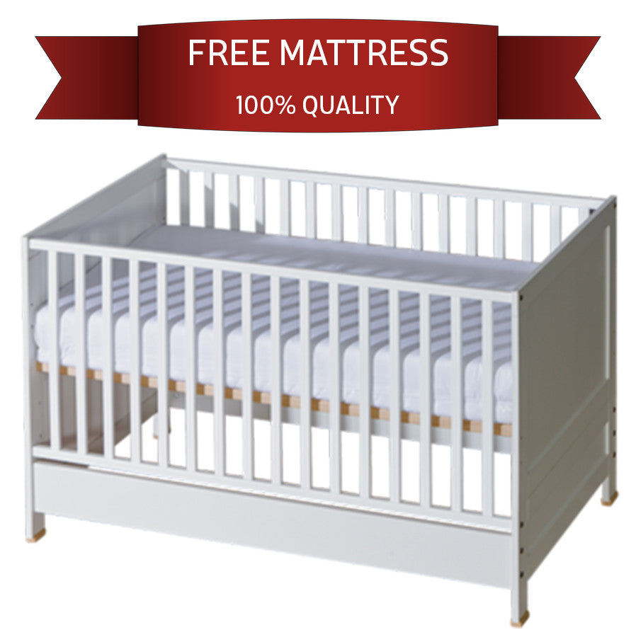 Crib Convert to Classic Bed for Toddler | Removable Rods | White - My Tiny Wheels