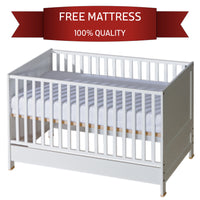 Crib Convert to Classic Bed for Toddler | Removable Rods | White