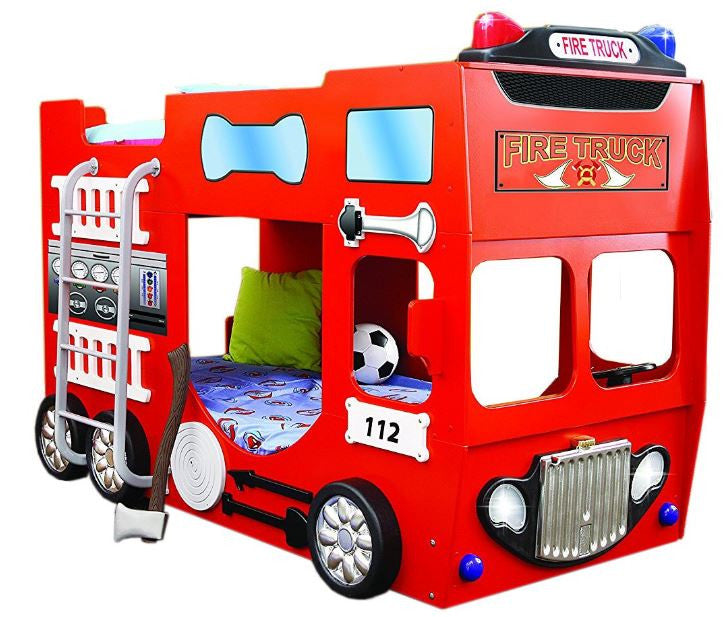 Bunkbed For Kids Fire Truck With Lights Red Color