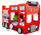 Double Fire Truck Bunk Bed For Children - My Tiny Wheels