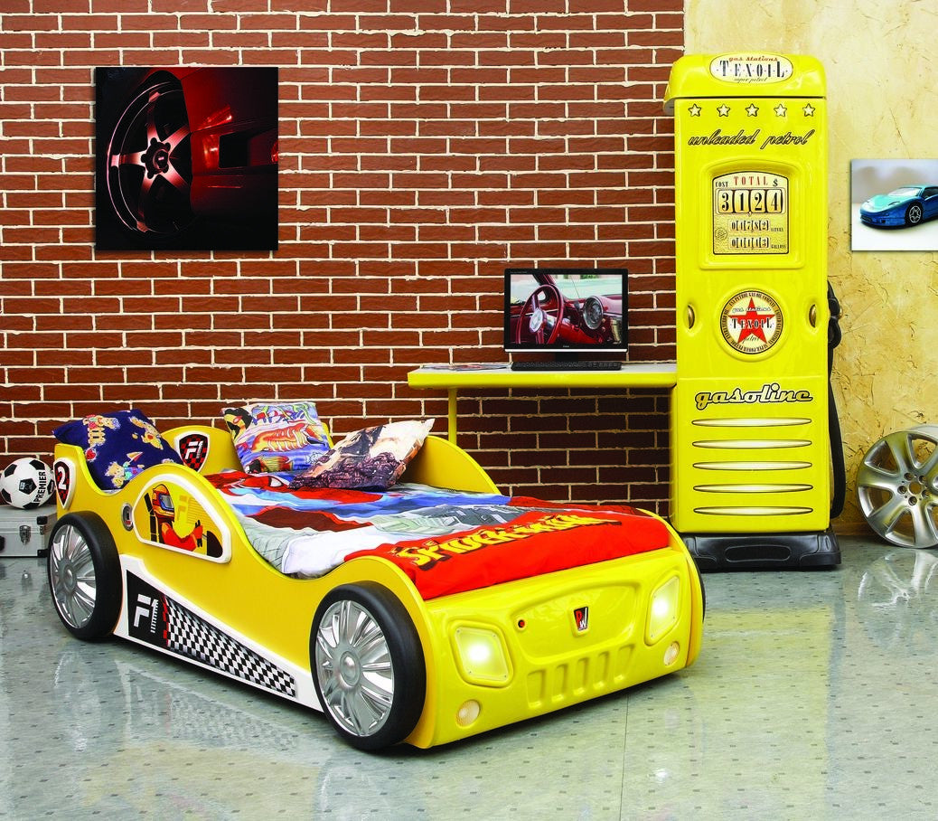 car msport toddler bed pure wood toxic free f1 design yellow