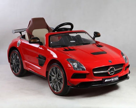 Mercedes SLS AMG Kids Ride On 12V Car RC LED Lights MP3 Connection Red - GarageN1  - 1