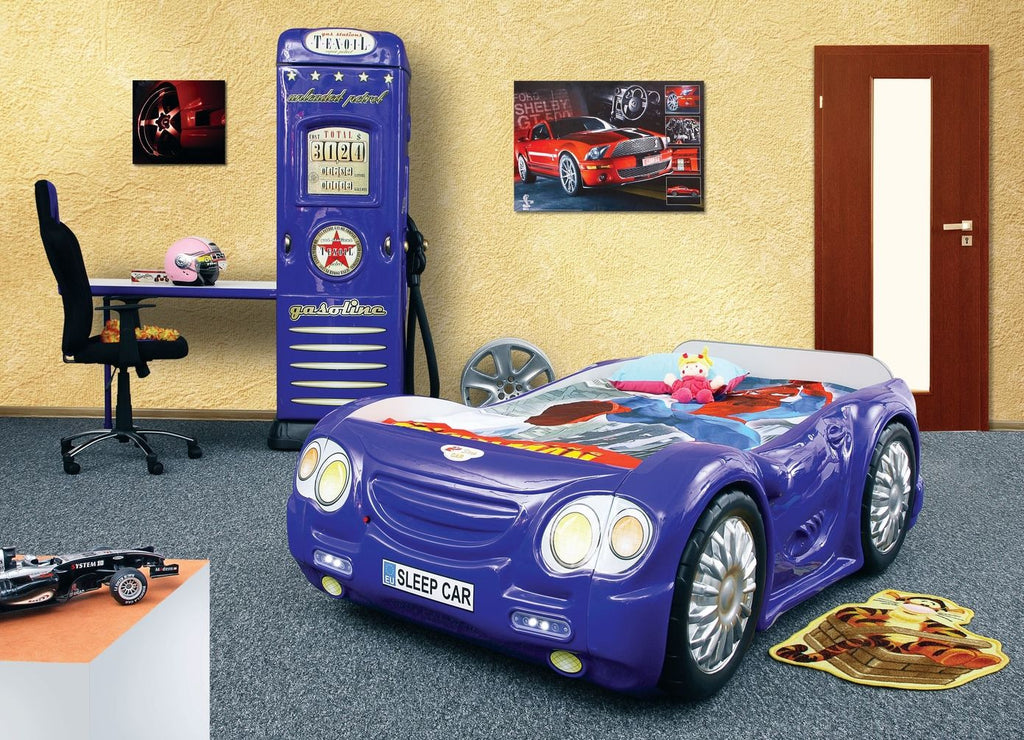 Sleep Car Racer Themed Bed For Children And Kids Blue