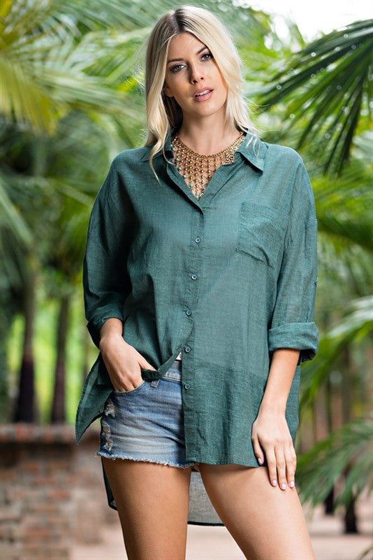 Megan Green Longsleeve Button-Up Blouse