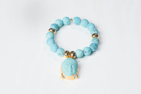 Matte Turquoise Bracelet with Buddha Charm