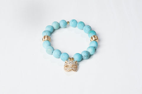 Matte Turquoise with Masquarade Cat Charm