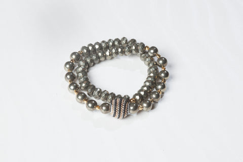 Pyrite Double Wrap Bracelet