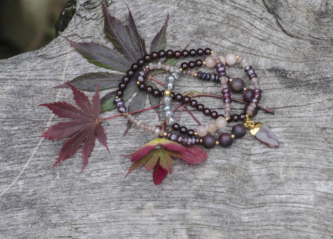 Garnet/Moonstone Triple Wrap/Necklace