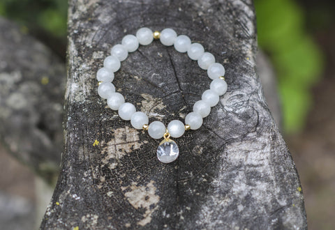 White Moonstone with crystal dangle charm