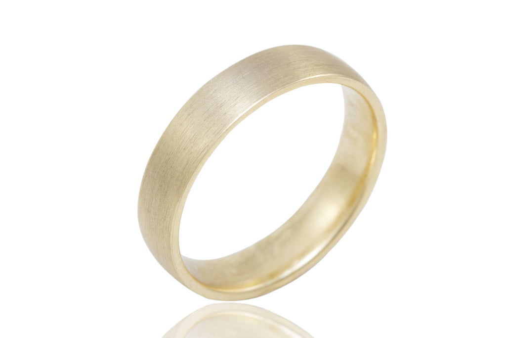 18K Polished Mat with Straight Shiny Edge 5mm Wedding Ring