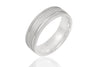 14K Mill Grained and Grooved & Polished and Mat 6mm Wedding Ring