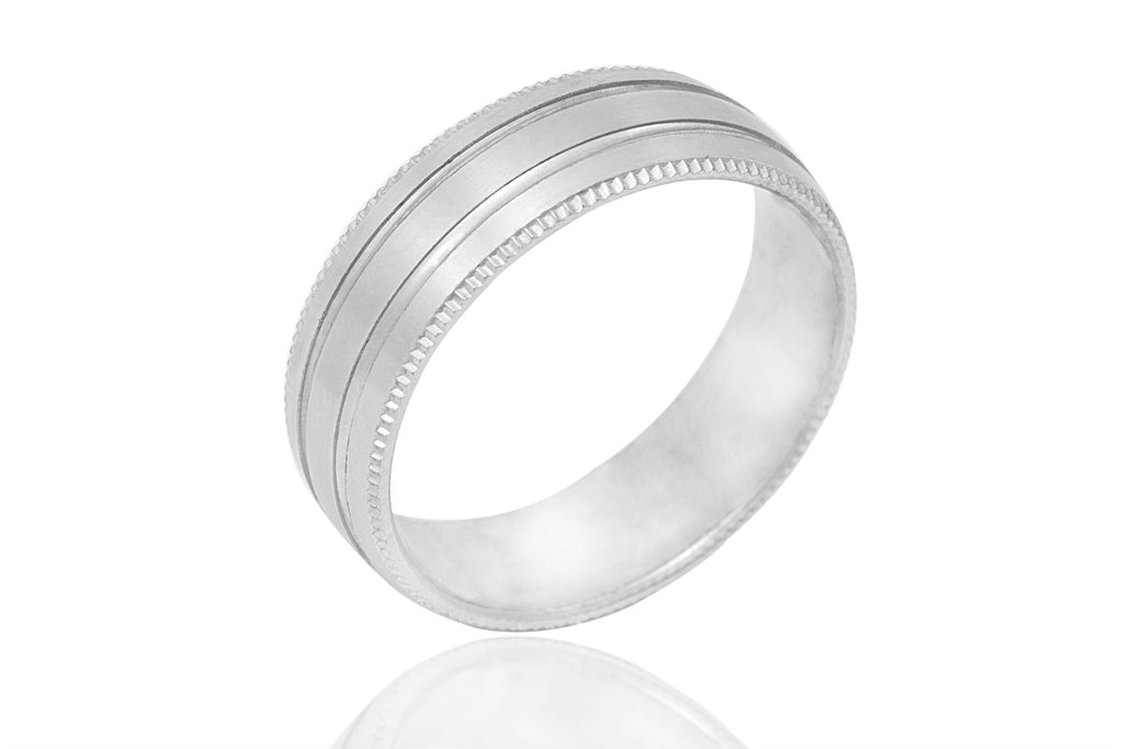 18K Mill Grained and Grooved 6mm Wedding Ring