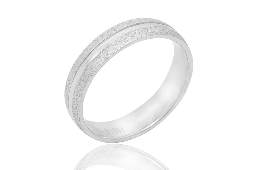 18K Sandblasted Edge with Shiny Centre 5mm Wedding Ring