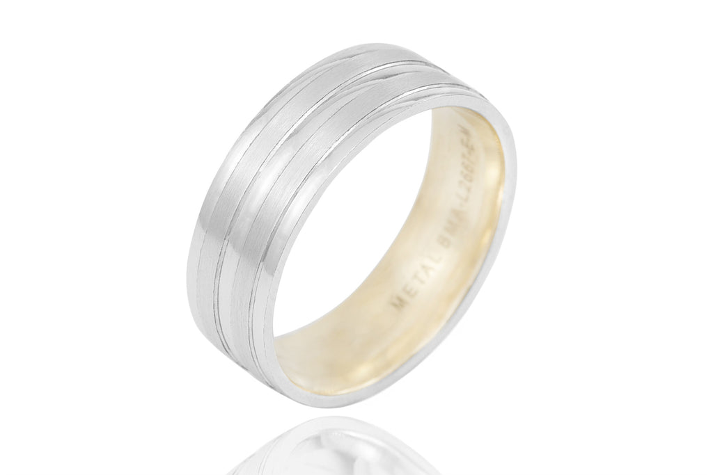 18K Polished Mat Double Groove With Shiny Edge and Centre 7mm Wedding Ring