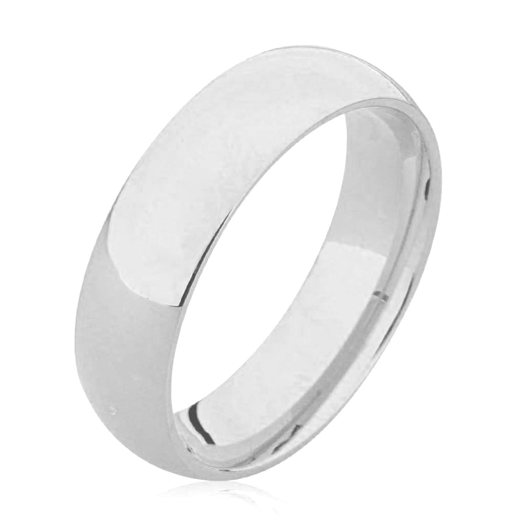Slightly D Shape Plain Palladium Wedding Ring