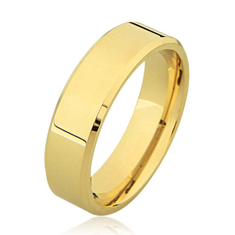 14K Flat Bevelled Edge Plain Wedding Ring