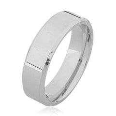 Flat Bevelled Edge Plain Platinum Wedding Ring