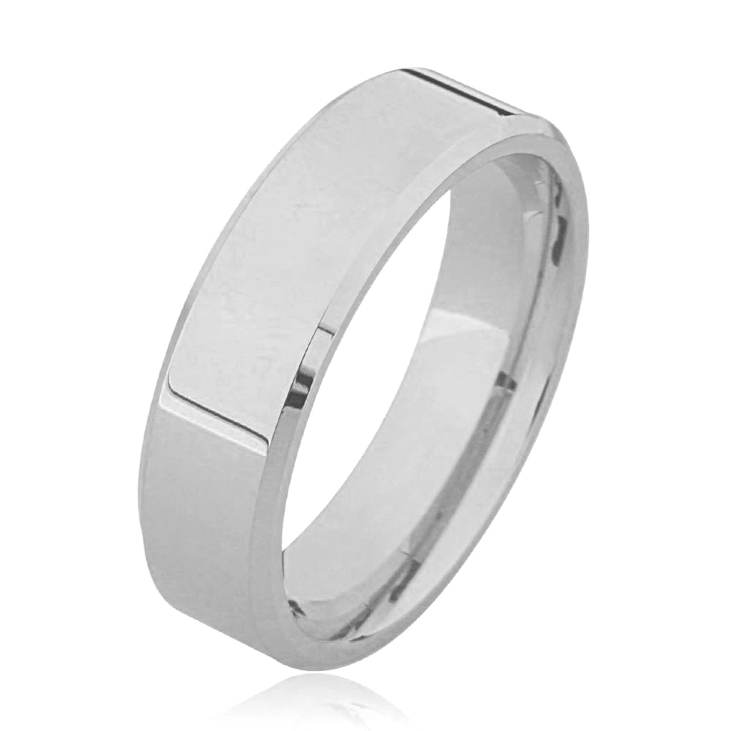 Flat Bevelled Edge Plain Palladium Wedding Ring