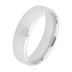 Slight D Shape Polished Mat Centre Plain Palladium Wedding Ring