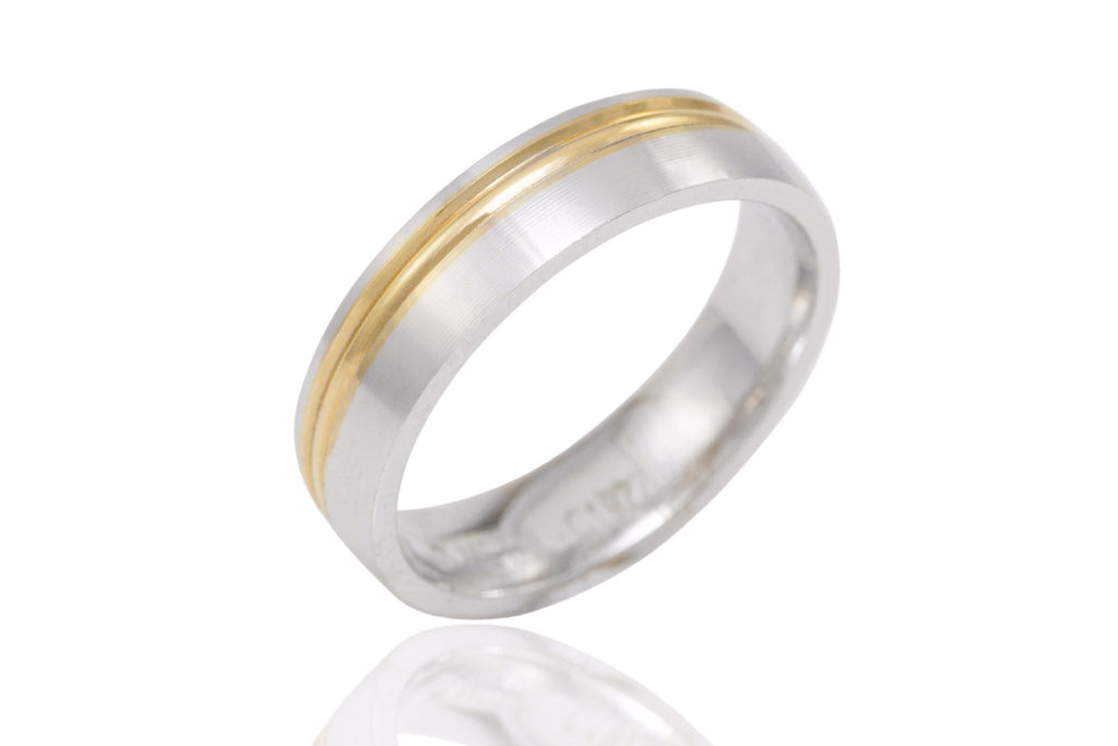 18K Bi Colour Off Centre Groove 5mm Wedding Ring