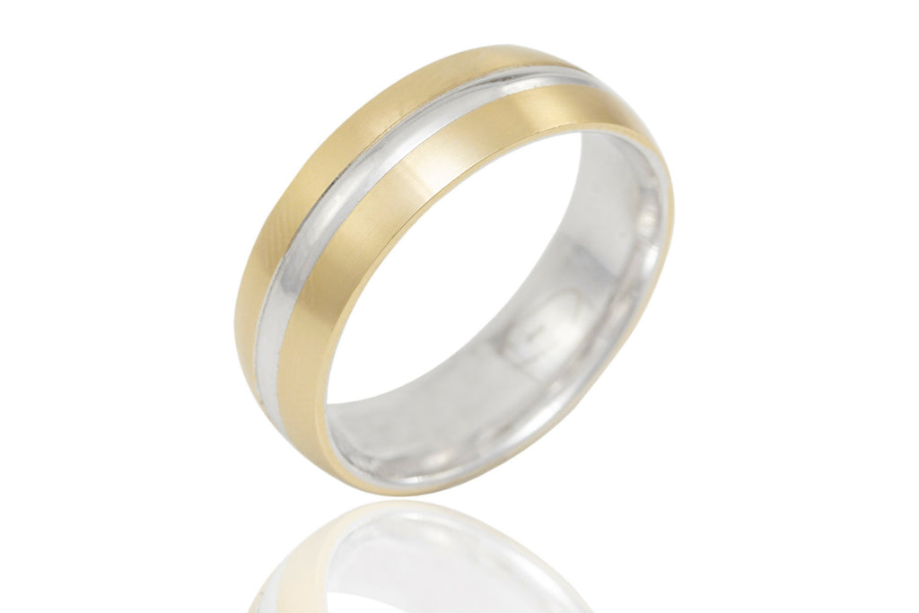 14K Bi Colour with Centre Groove 6mm Wedding Ring