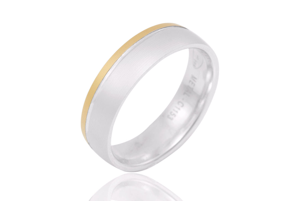 18K Bi Colour Mat 6mm Wedding Ring