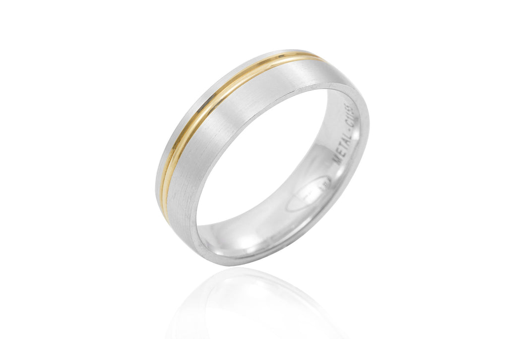 18K Bi-Colour Off Centre Groove 6mm Wedding Ring