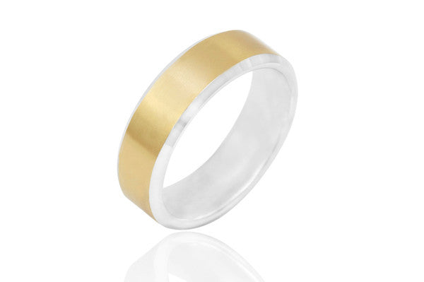 9K Bi Colour Wedding Ring with Centre Groove 6mm Wedding Ring