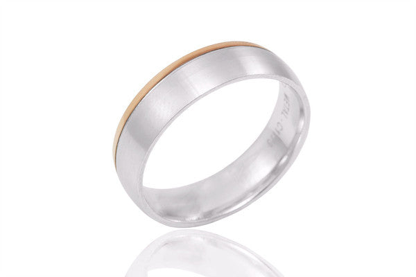 18K Polished Mat Bi Colour Single Edge 6mm Wedding Ring