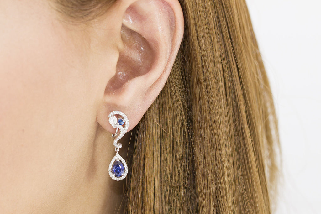 Blue Sapphire and Diamond 18K White Gold Dangly Earrings