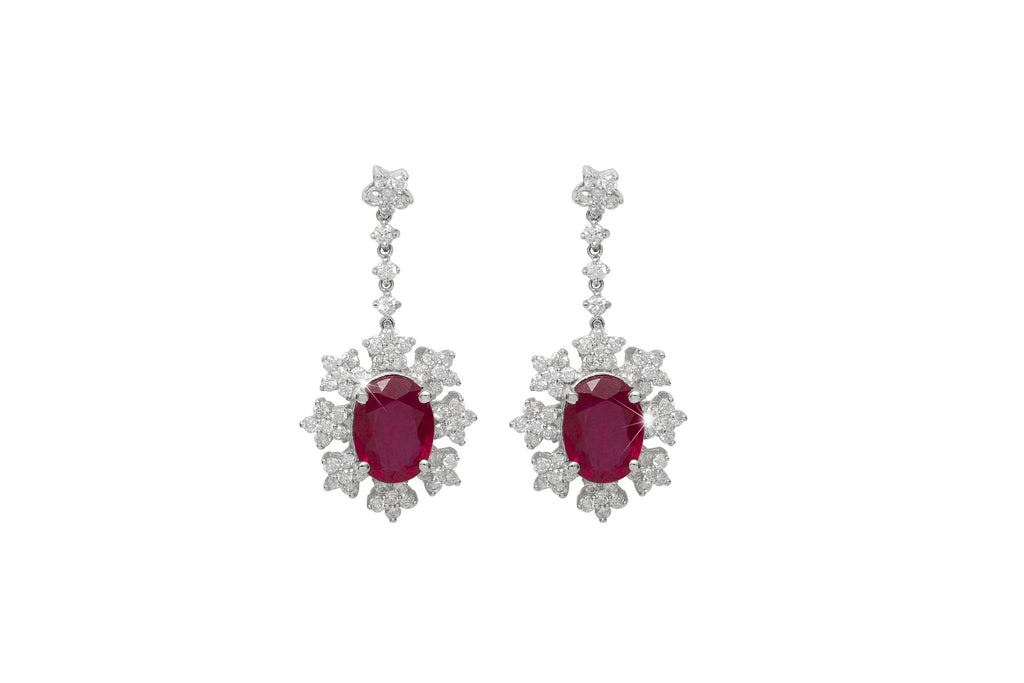 Ruby and Diamond Cluster 18K White Gold Dangly Earrings