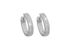 Three Row Diamond 18K White Gold Hoop Earrings