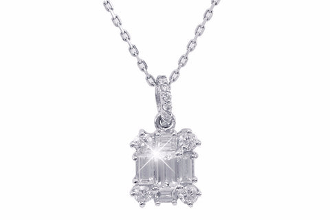 Baguette Cut Diamond 18K White Gold Pendant