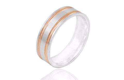 14K Bi Colour Grooved 6.5mm Wedding Ring