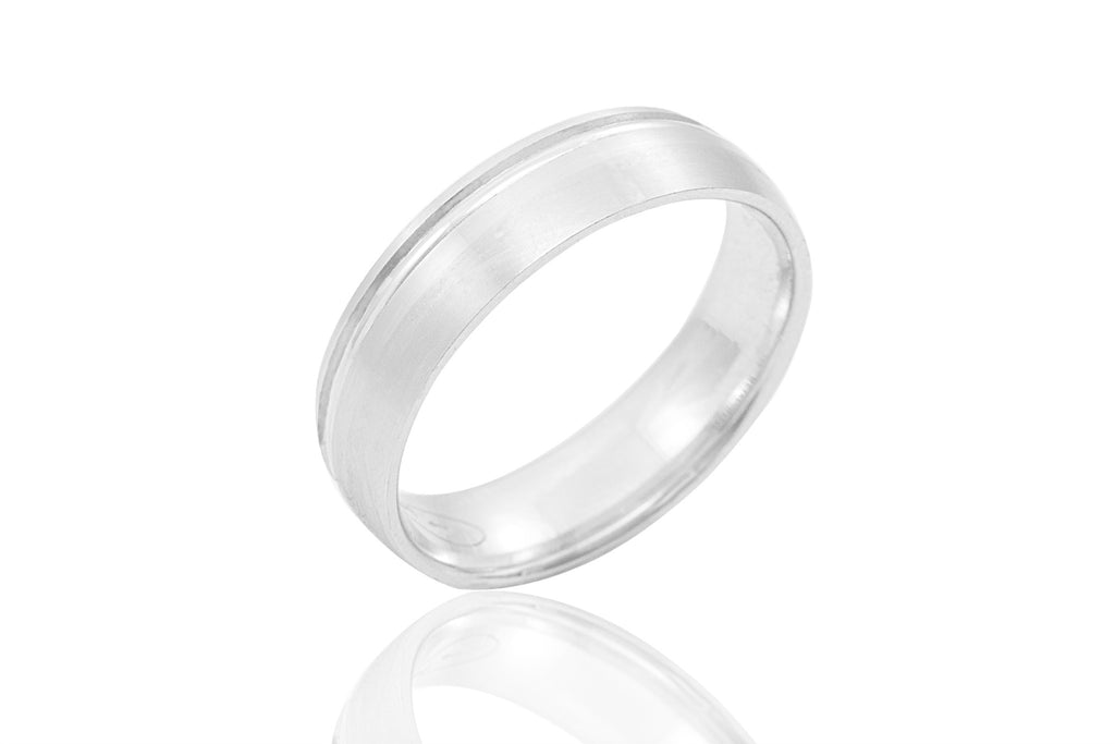 14K Polished Mat with Shiny Off Centre Groove 5.8mm Wedding Ring