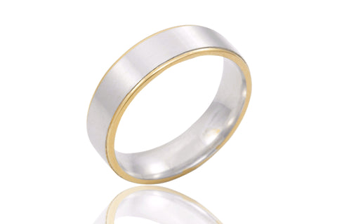 14K Bi Colour Flat Soft Edge 6mm Wedding Ring
