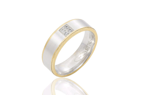 14K Bi Colour Flat Soft Edge Diamond 6mm Wedding Ring