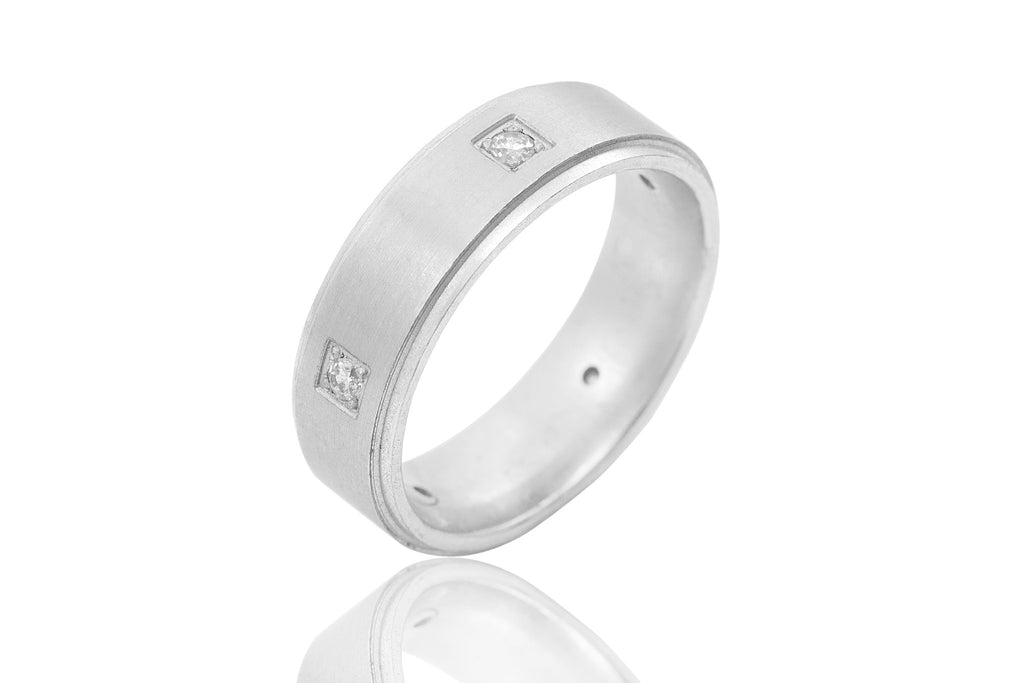 14K Polished Mat Centre with Shiny Edges Diamond 6mm Wedding Ring