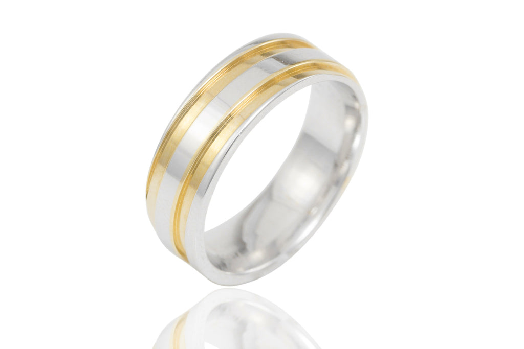 18K Bi Colour Off Groove 7mm Wedding Ring