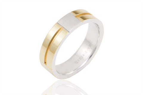 14K Bi Colour Extra Thick 6mm Wedding Ring